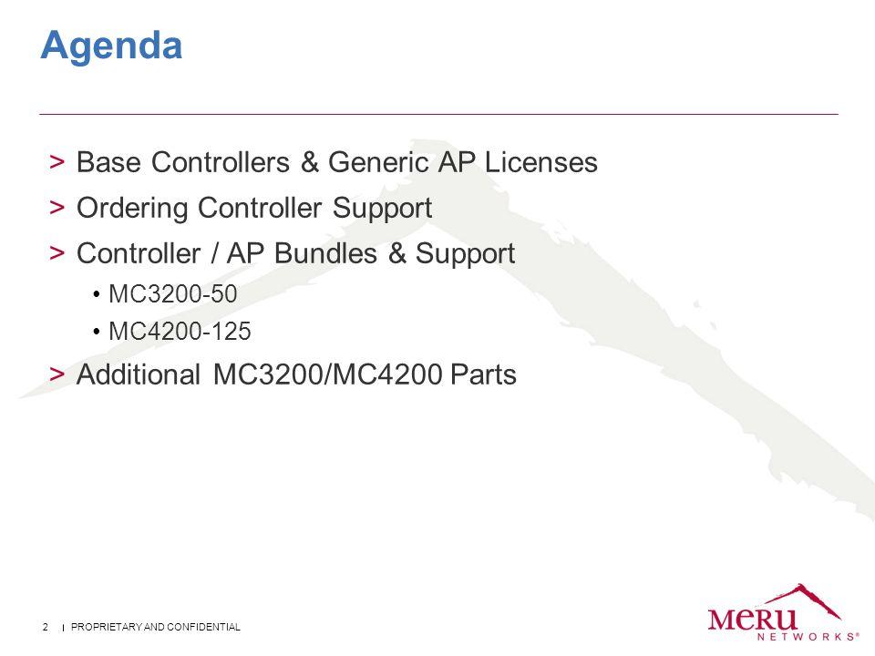 Agenda Base Controllers & Generic AP Licenses