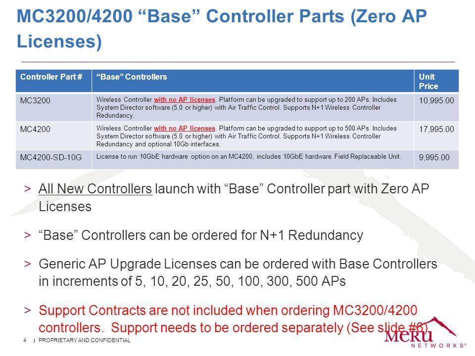 MC3200/4200 Base Controller Parts (Zero AP Licenses)