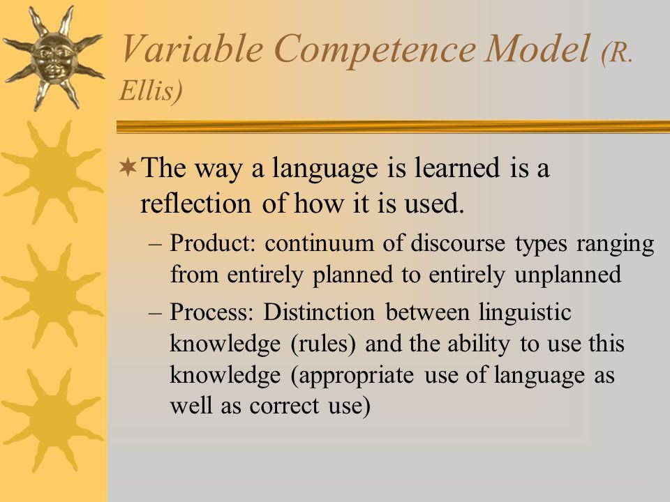 Variable Competence Model (R. Ellis)