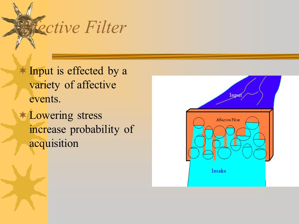 Affective Filter Input is effected by a variety of affective events.