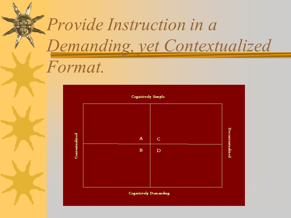 Provide Instruction in a Demanding, yet Contextualized Format.