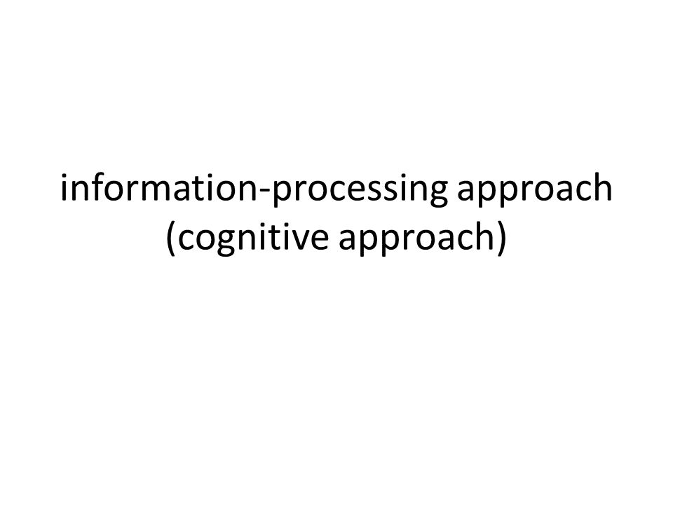 information-processing approach (cognitive approach)