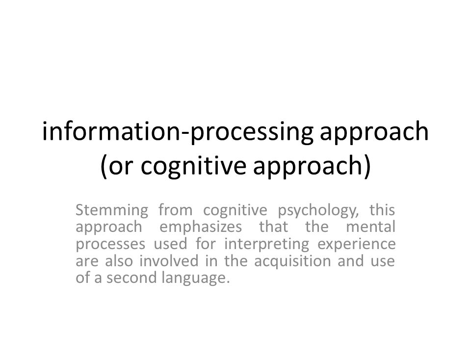 information-processing approach (or cognitive approach)