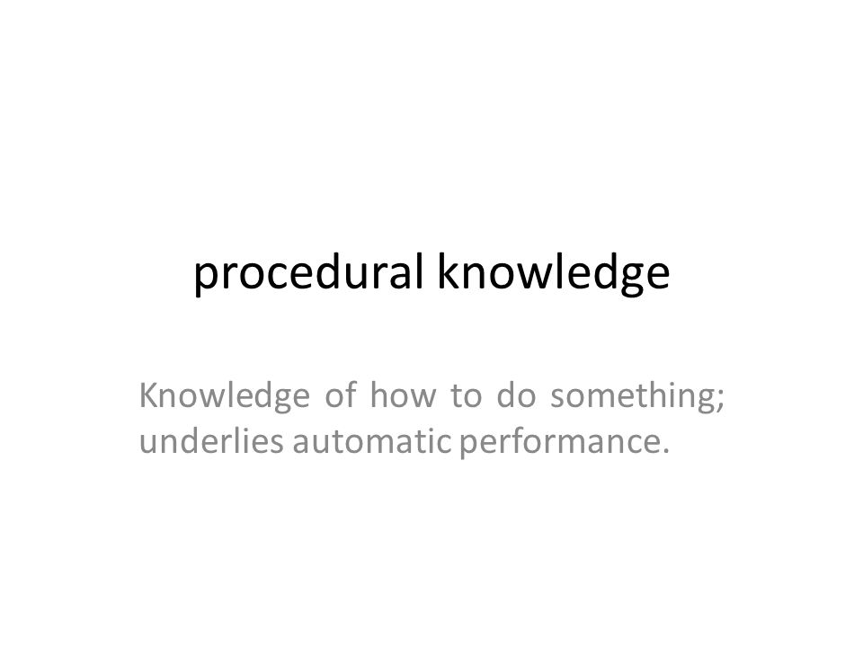 Knowledge of how to do something; underlies automatic performance.