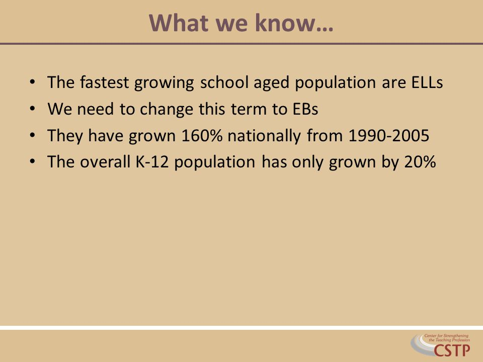 What we know… The fastest growing school aged population are ELLs