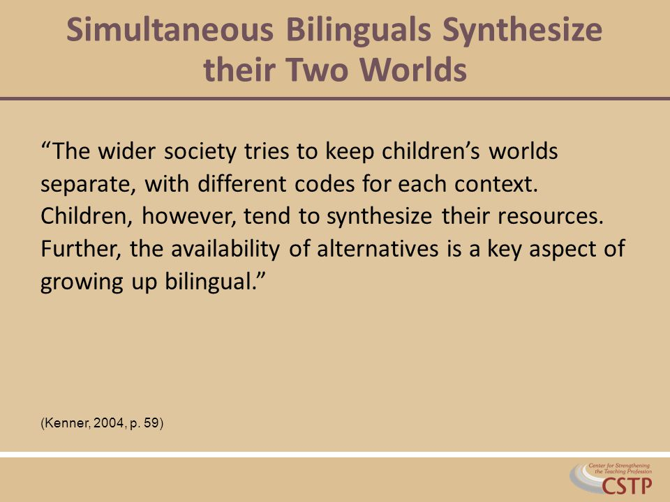 Simultaneous Bilinguals Synthesize their Two Worlds