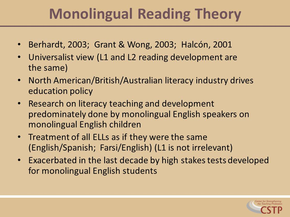 Monolingual Reading Theory