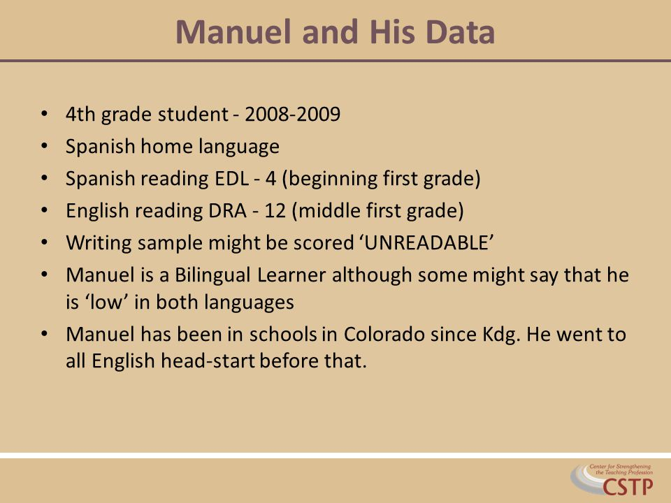 Manuel and His Data 4th grade student