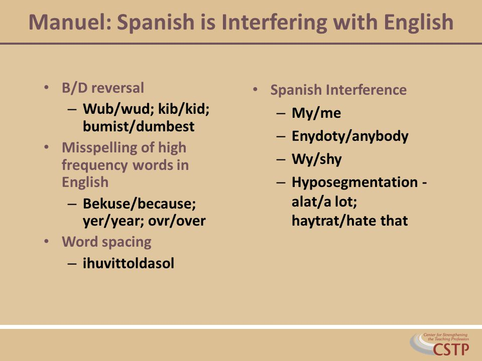 Manuel: Spanish is Interfering with English