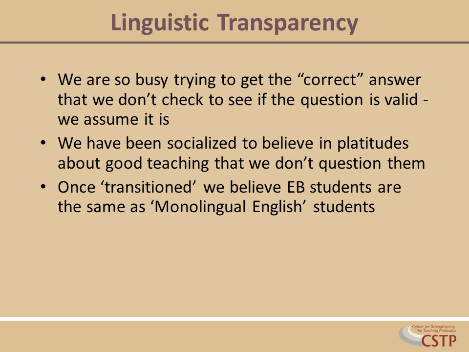Linguistic Transparency