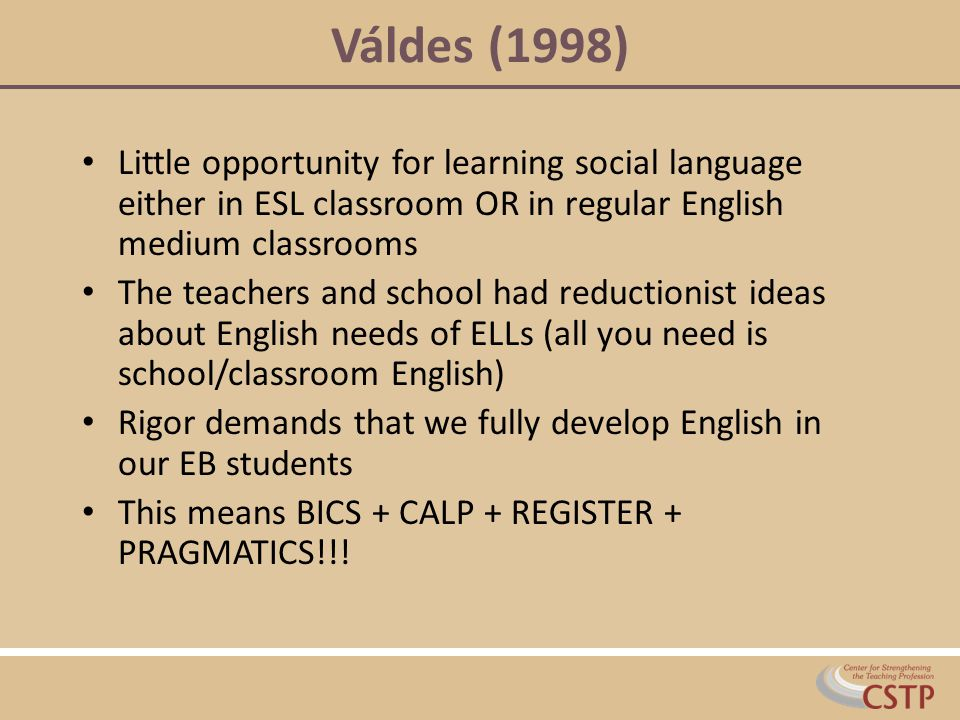 Váldes (1998) Little opportunity for learning social language either in ESL classroom OR in regular English medium classrooms.