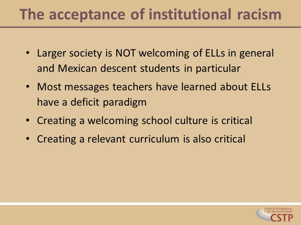 The acceptance of institutional racism