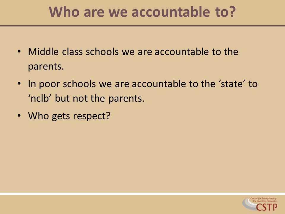 Who are we accountable to