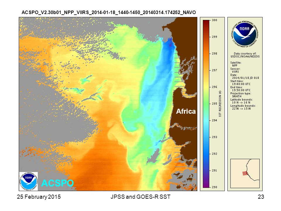 ACSPO Africa 25 February 2015 JPSS and GOES-R SST