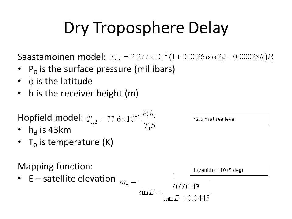 Dry Troposphere Delay Saastamoinen model:
