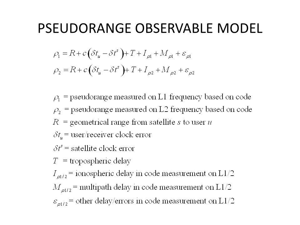 PSEUDORANGE OBSERVABLE MODEL