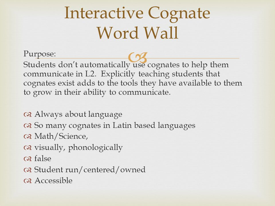 Interactive Cognate Word Wall