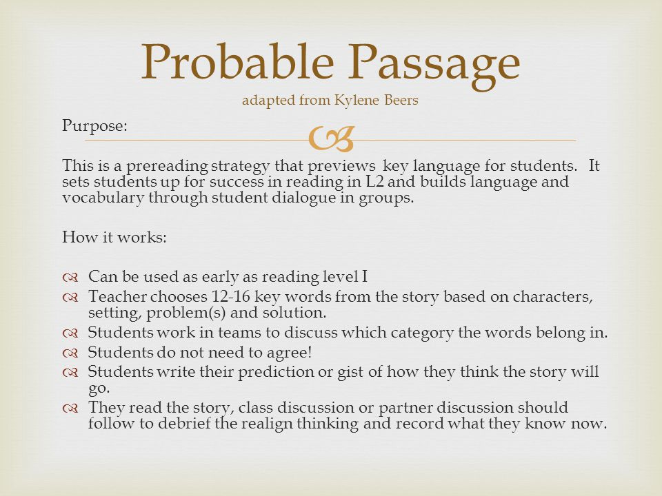 Probable Passage adapted from Kylene Beers