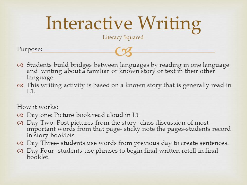 Interactive Writing Literacy Squared