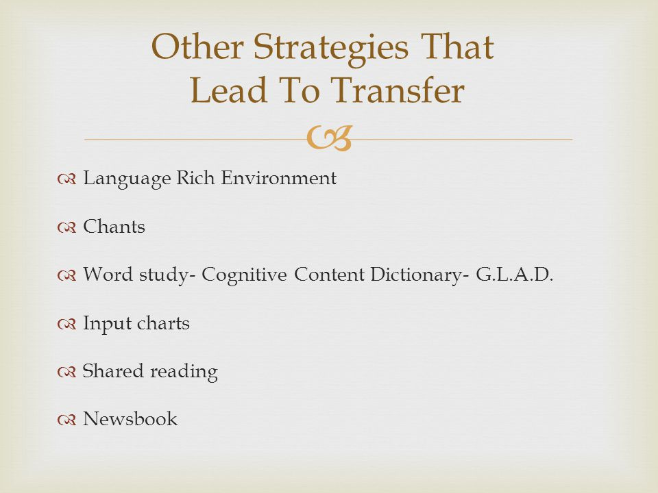 Other Strategies That Lead To Transfer