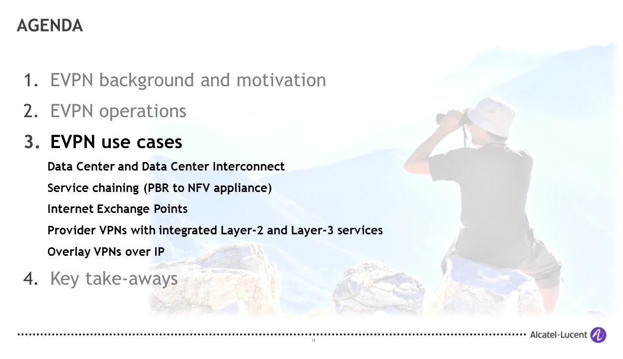 EVPN background and motivation EVPN operations EVPN use cases
