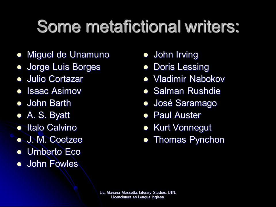 Some metafictional writers: