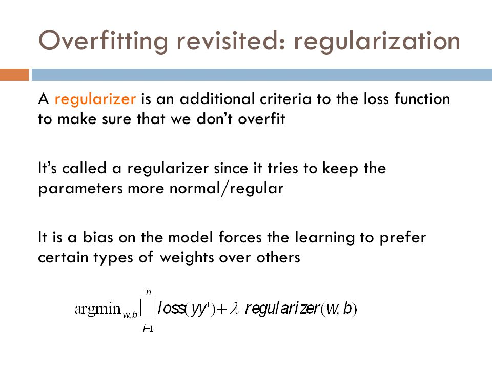 Overfitting revisited: regularization
