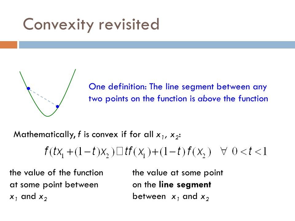 Convexity revisited One definition: The line segment between any two points on the function is above the function.