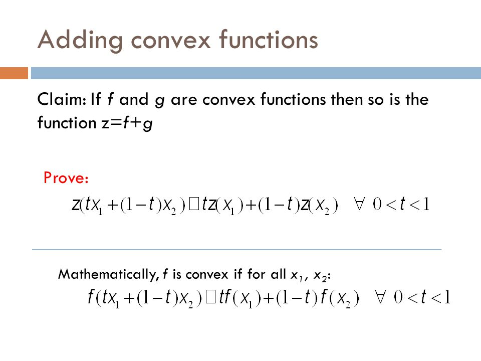 Adding convex functions