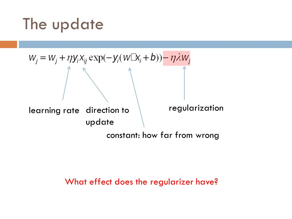 The update regularization learning rate direction to update