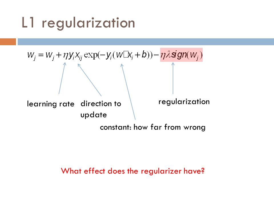 L1 regularization regularization learning rate direction to update