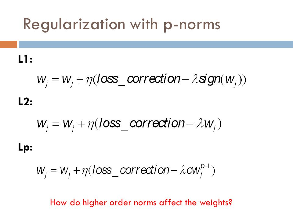 Regularization with p-norms