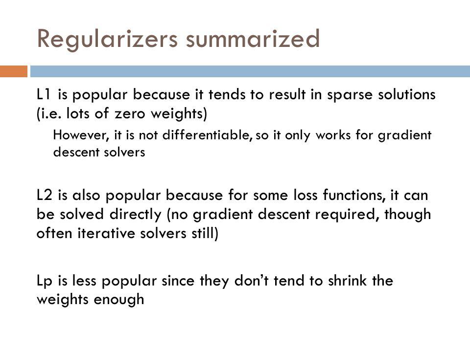 Regularizers summarized