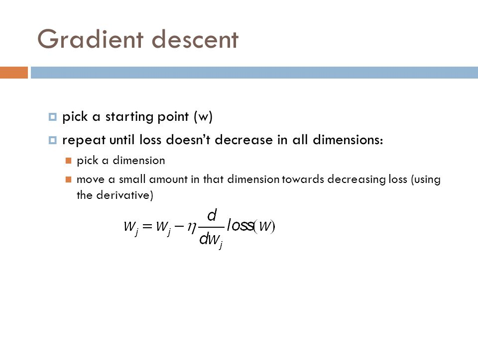 Gradient descent pick a starting point (w)