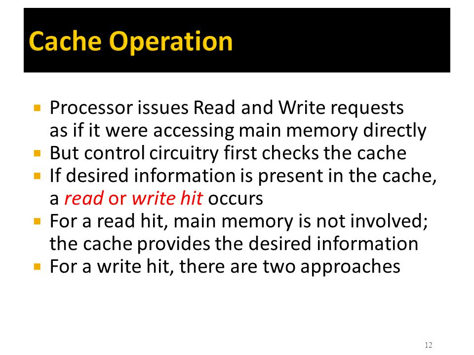 Cache Operation Processor issues Read and Write requests as if it were accessing main memory directly.