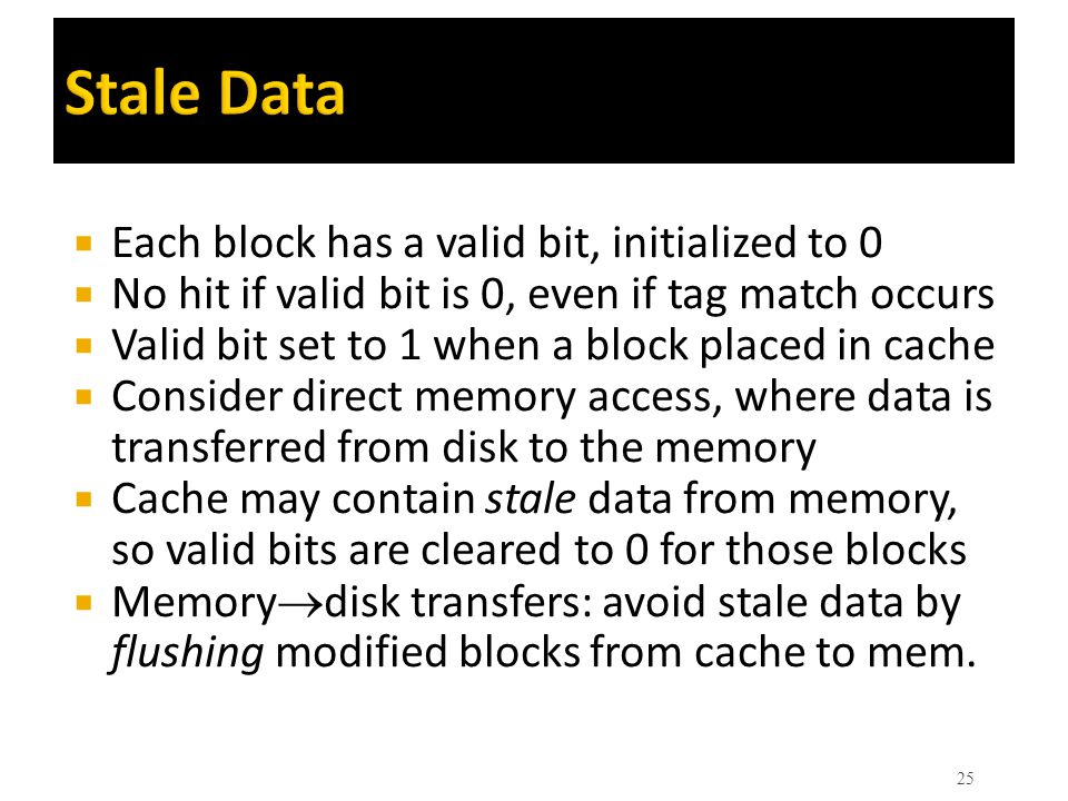 Stale Data Each block has a valid bit, initialized to 0