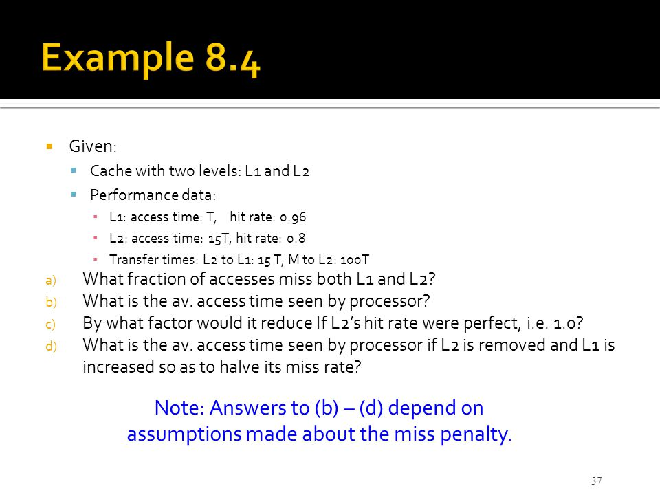 Example 8.4 Note: Answers to (b) – (d) depend on