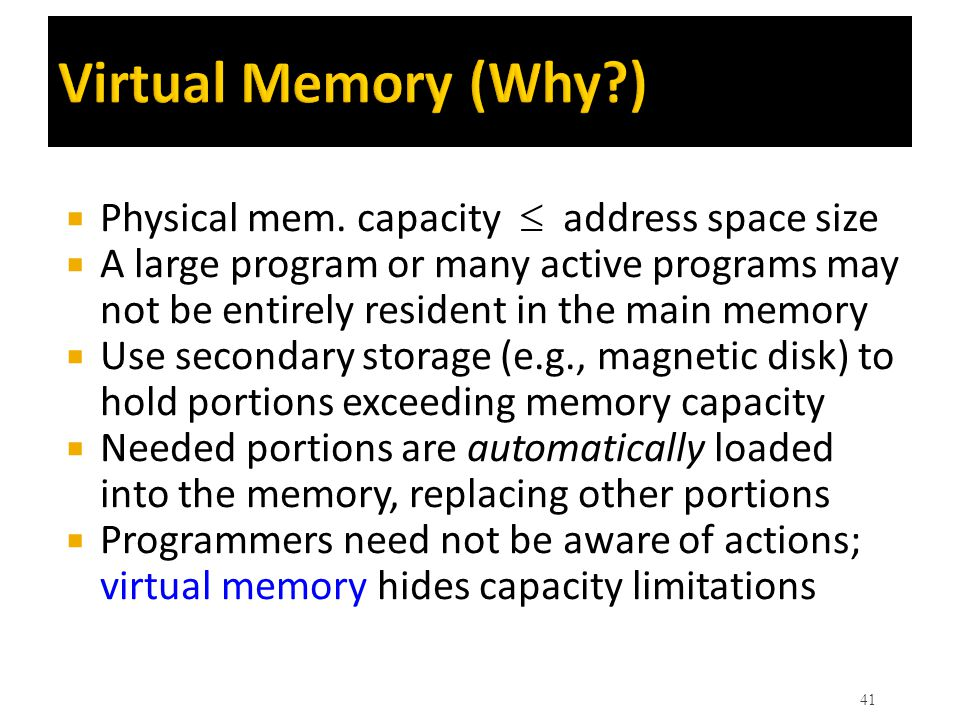 Virtual Memory (Why ) Physical mem. capacity  address space size