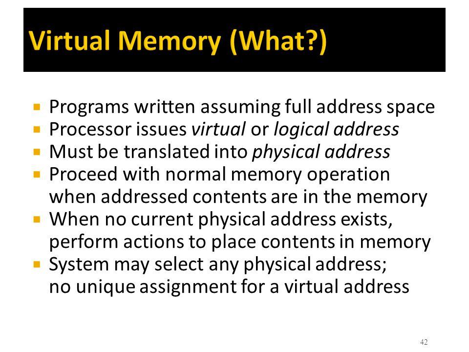 Virtual Memory (What ) Programs written assuming full address space