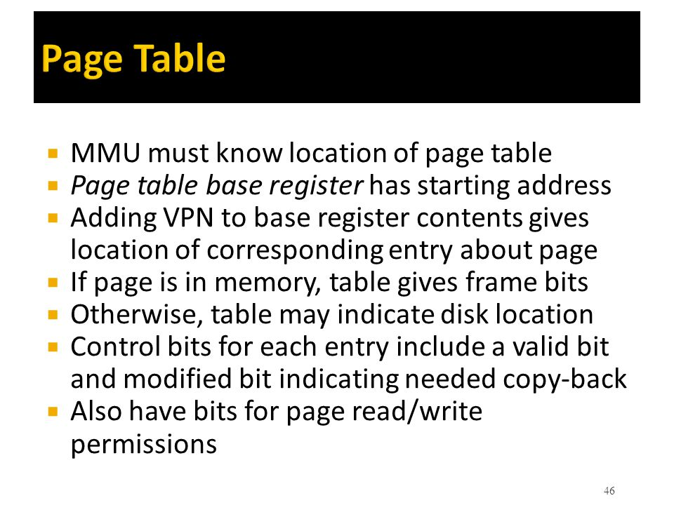 Page Table MMU must know location of page table