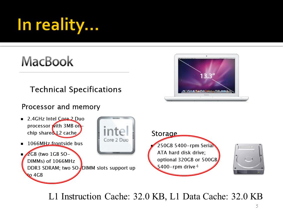 In reality… L1 Instruction Cache: 32.0 KB, L1 Data Cache: 32.0 KB