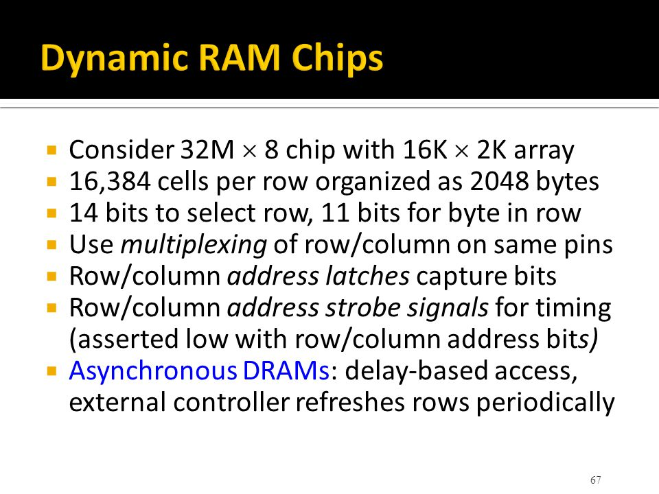 Dynamic RAM Chips Consider 32M  8 chip with 16K  2K array