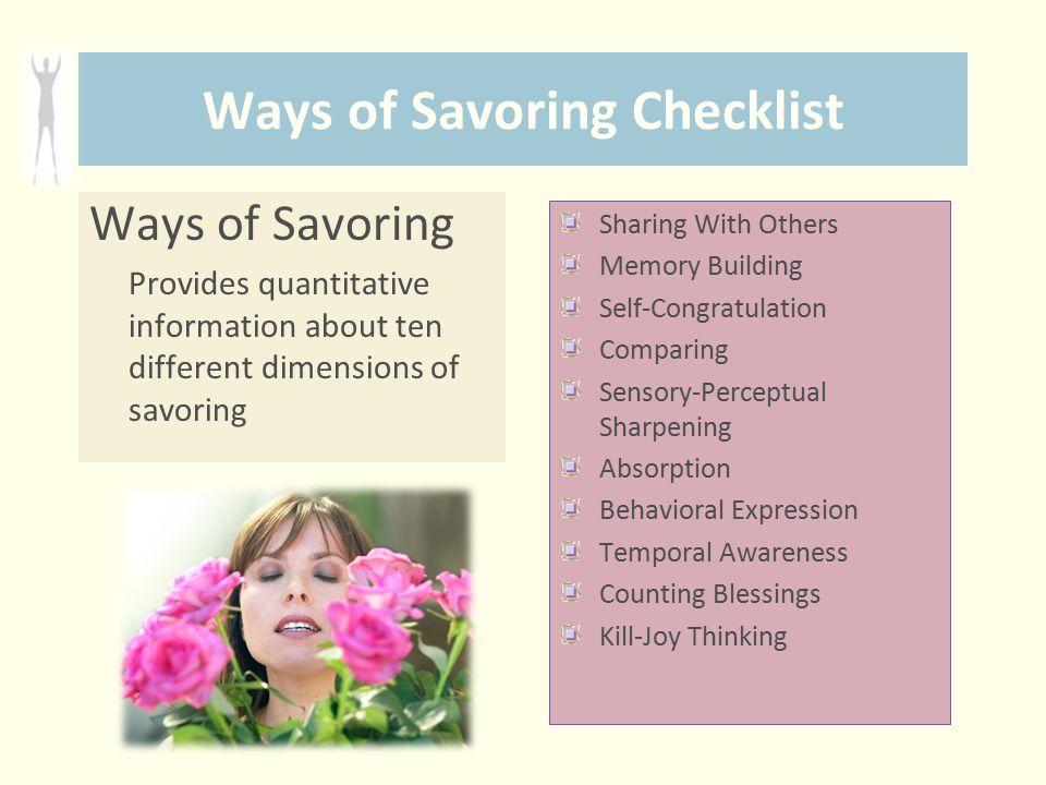 Ways of Savoring Checklist