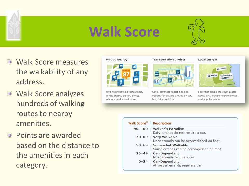 Walk Score Walk Score measures the walkability of any address.