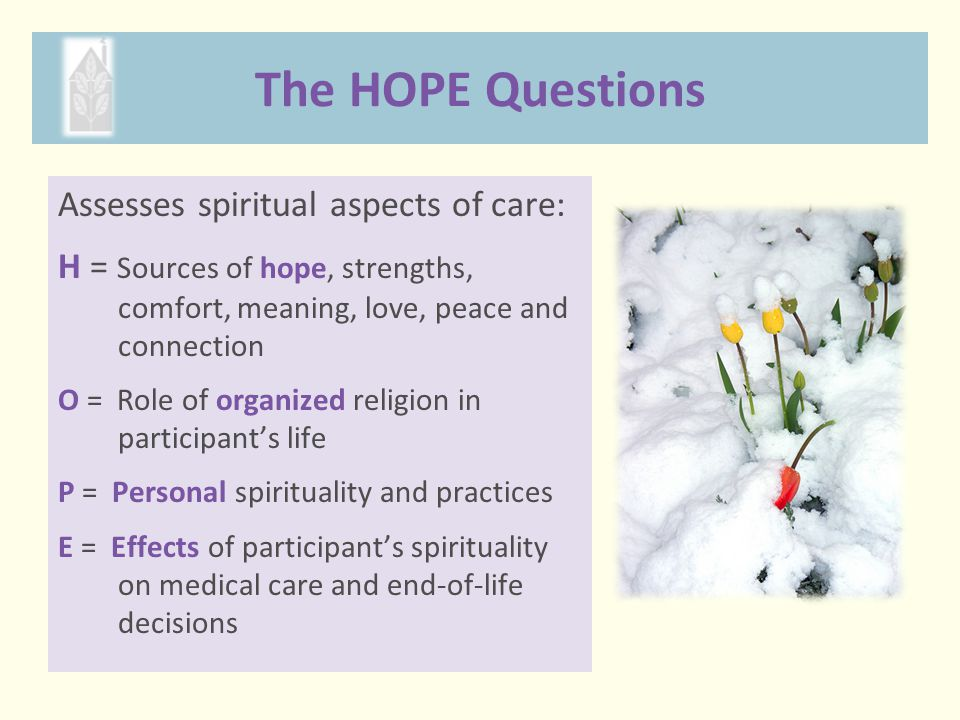 The HOPE Questions Assesses spiritual aspects of care: