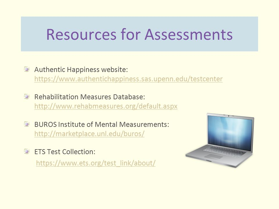 Resources for Assessments