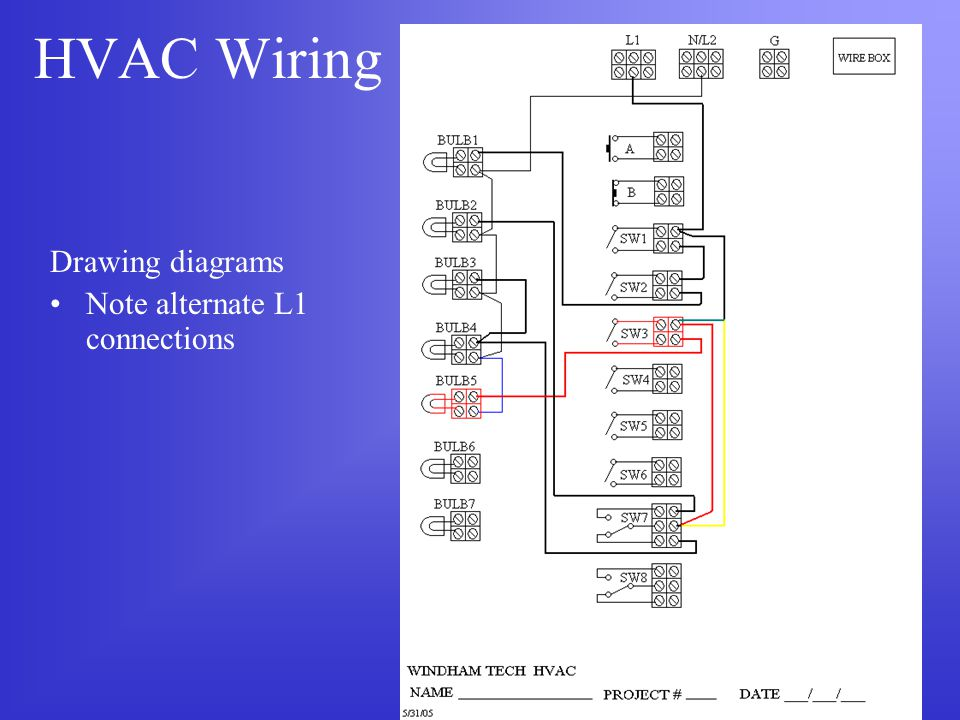 HVAC Wiring Drawing diagrams Note alternate L1 connections