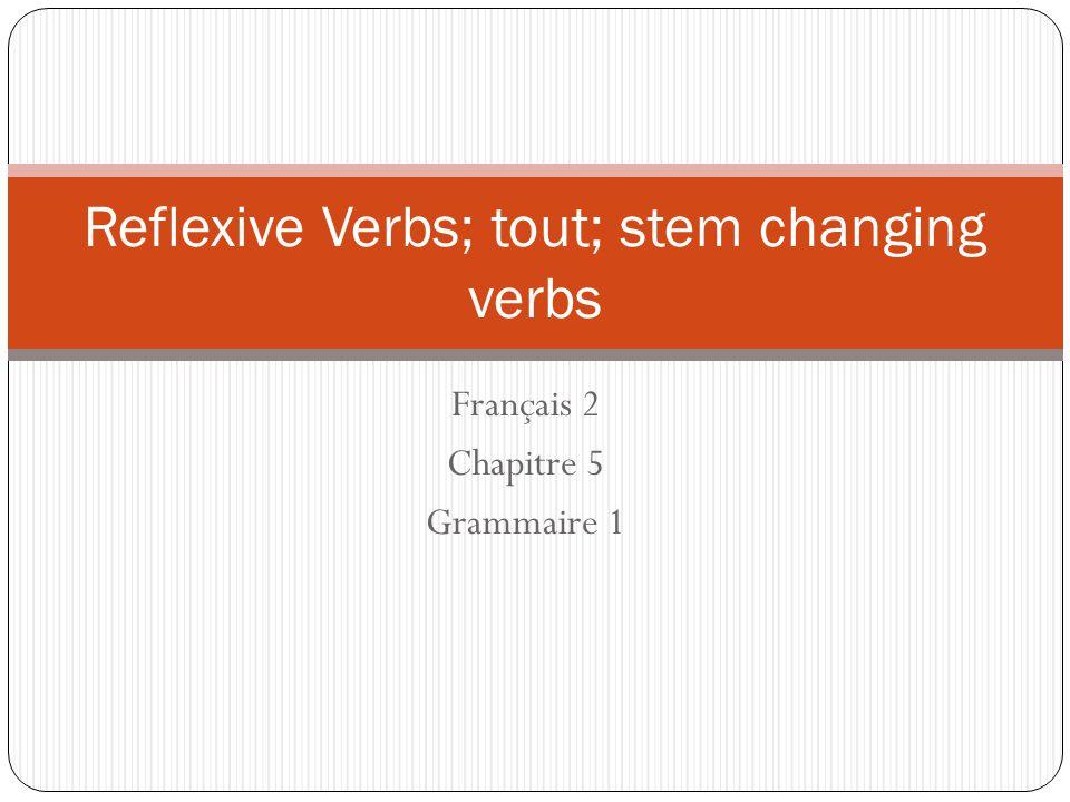 Reflexive Verbs; tout; stem changing verbs