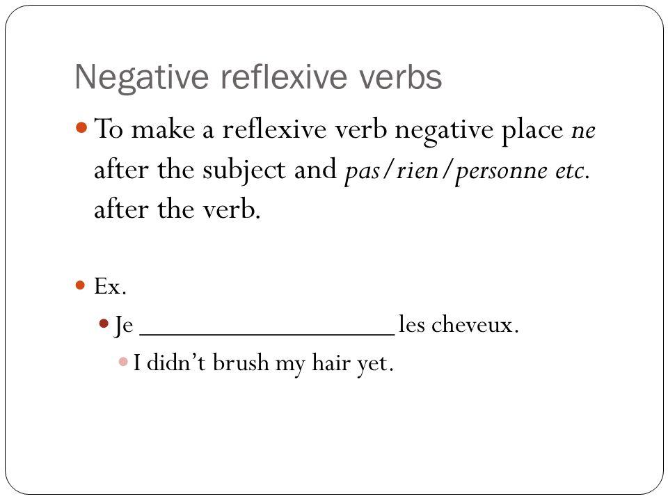 Negative reflexive verbs