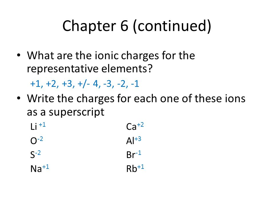 Chapter 6 (continued) What are the ionic charges for the representative elements +1, +2, +3, +/- 4, -3, -2, -1.